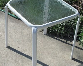 Retro White Metal and Glass Outdoor Table