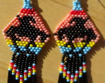 End of Trail Native American/Southwest style beaded earrings