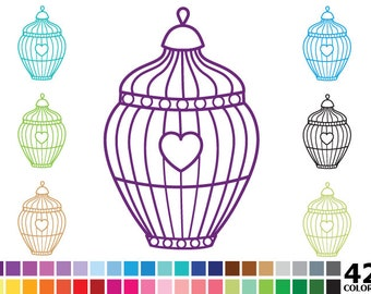 70% OFF SALE Rainbow Silhouette Bird Cages Clipart - Digital Vector Colorful Bird Cage Clip Art