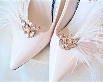 Blush Shoe Clips, Blush Feather Shoe Clips, Blush Rhinestone Shoe Clips, Blush Bridal Shoe Clips, Blush Wedding Shoe Clips