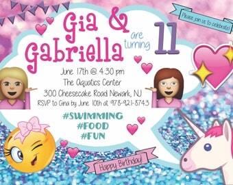 Emoji Birthday Invitation for Twin Girls