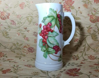 Antique handpainted signed red currants pitcher