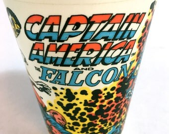 Captain American Falcon Marvel Superhero 7-11 Slurpee Cup 1977 Drink Holder Comic book Merchandise Marvel Comics Collectable