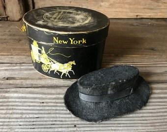 1930s Dobbs New York Miniature Hat Box, Salesman Sample, Miniature Top Hat