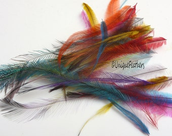 Kid Friendly DIY Craft Feathers Emu Bulk Lot of 30 Real Hand Dyed Creative Color Cruelty Free Feathers