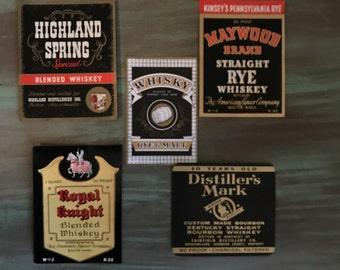 Whiskey Labels / 5 Black Vintage Whiskey Bottle Labels Great for Altered Art, Tags, Journals++