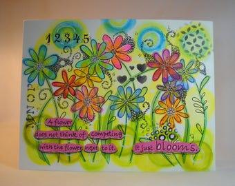 mixed media art, canvas , painted canvas, quote, original art, wall art, inspirational quote, OOAK art, just bloom, garden art, flower art
