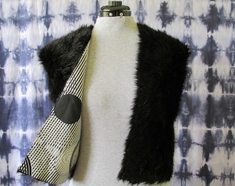 Black Faux Fur Vest - Extra Small - Reversible Vest - Lined Vest - One of a Kind