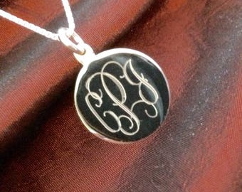 Monogrammed Sterling Silver Pendant Necklace