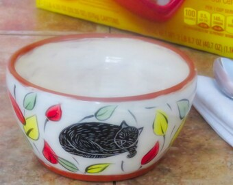 Cat Cereal Salad Bowl, Hand Painted Earthenware Folk Art