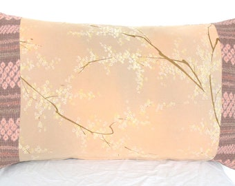 SOLD.Decorative  Cushion in a delicate Hand Painted Floral Japanese Blossom in Dusty Pink & Cream with Shirobi Stripe from Kimono Silks