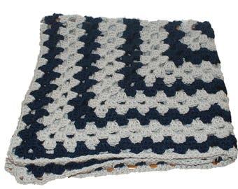 Twin Blanket, Blue Gray Blanket, Twin Bedspread, Crochet Blanket, Crochet Afghan, Handmade Afghan, Afghan Blanket, Granny Square Afghan