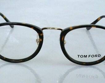 Vintage 90's Tom Ford Eyeglasses Tortoise Wayfarer Gold , authentic, for Men, medium size, elegant eyewear, with Case and Cloth.