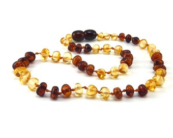 Amber Baltic Necklace Toddler Child Teething Baby Polished Rounded Lemon Cognac Beads