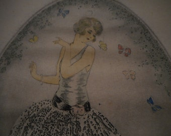 Vintage 1920's Oval Fashion Lithograph Signed Made in France
