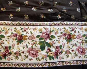 1970s Floral Fabric, 1970's Fabric, Board Fabric, Vintage Fabric, Big Piece of Fabric, Quilter Weight Fabric, Brown, Border Fabric