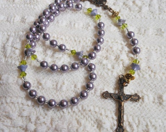 Spring Violets Traditional Five Decade Bronze Rosary