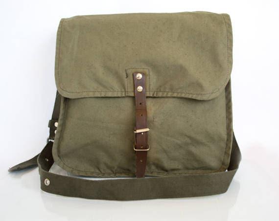 Vintage Army Bag, Military Shoulder Bag, Green Canvas Messenger Bag, School Bag, Crossbody Bag, Army Surplus