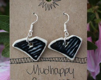 Black and white ceramic earrings, South Carolina dangle earrings