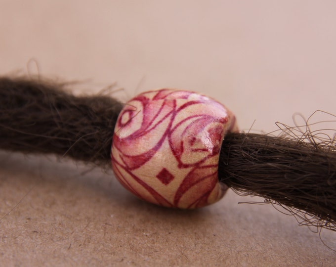 12 Rosy Wooden Swirl Dreadlock Beads 7mm Hole (9/32 Inch) + Free Stainless Steel Dread Ring