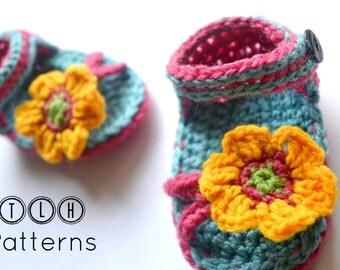 Crochet pattern, crochet baby sandals pattern, crochet baby slippers, blue and pink baby sandals, pattern no. 60