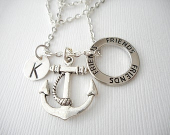 Anchor, Friends -Initial Necklace/ Best friend jewelry, friendship necklace, going away, gift for daughter, girlfriend boyfriend gift