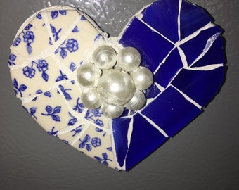 SHABBY COTTAGE MOSAIC Heart Magnet - Vintage English Blue and White Dainty Flower China - Blue Stained Glass- Vintage Pearl Cluster Ear Ring
