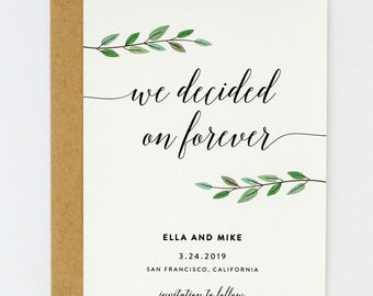 Modern Save the Date - Hand Drawn Greenery and Chic Calligraphy Wedding Save the Date (Ella Suite)