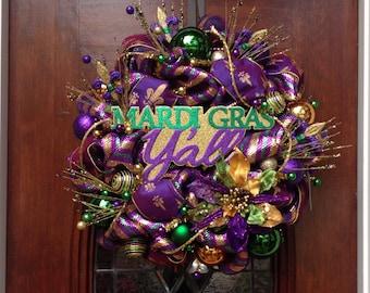 Mardi Gras Y'All Deluxe Mesh Wreath