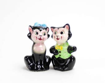 Vintage Cat Salt and Pepper, PY Anthropomorphic Black Cats, Kitten Shakers, Miyao Kitsch 1950s Ceramic Salt Pepper Shakers, Epsteam #2