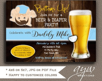Beer and Diaper Party Invitation for Man Shower Bottoms Up Beer and Diaper Party Invite Beer and Diaper Party Wood Background