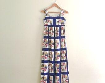 Vintage Floral Patchwork Print Maxi Dress // Retro Flower Hostess Dress // Hippie Boho Empire Sleeveless Dress // 1960s - 70s