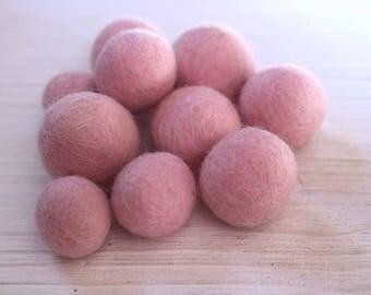 Pink  handmade felt beads