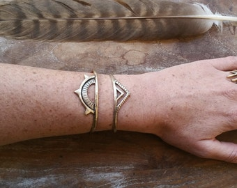 Sunkeeper + Pyramids Cuff Set | Boho Cuff | Rustic Jewelry | Tribal Jewelry | Spiritual Jewelry | Mystic Jewelry | Bronze Bracelet | Cuffs