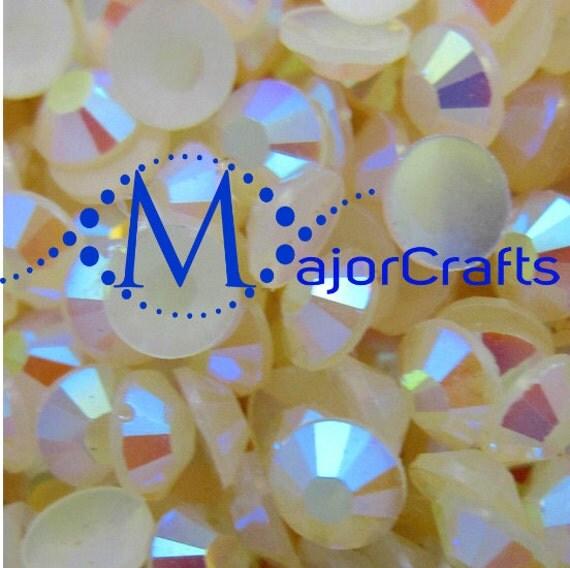 Cream Ivory AB Flat Back Round Resin Rhinestones Embellishment Gems C43