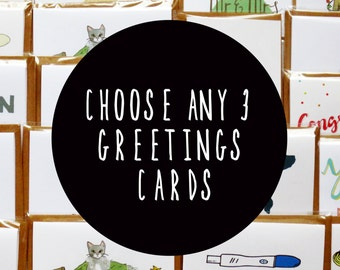 Choose Any 3 Cards, Mix & Match, Set of Cards, Quirky Cards, Greeting Card Set, Bulk Cards, Special Occasions, Cute Cards, Birthday Cards