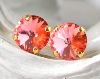 Rose Peach Earrings | Swarovski Crystals | Stud Earrings | Wedding Jewelry | Rose Peach Studs | Rose Peach Earrings | Gift For Her