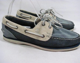 Vintage Timberland Boat Shoe Women size 8.5 Camp Moc Blue Suede