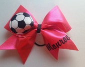 Pink Soccer Cheer Bow with Personalized Name or Number