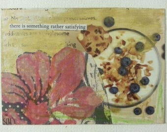 sale aceo THERE IS SOMETHING original collage kimartist cereal flower food hibiscus modern pop still life brown red black white sfa ooak