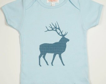 Elk with Pattern - Hand Screen Printed Boys & Girls American Apparel Light Pink T-shirt: Size 18-24 months and Kid Sizes 2-8