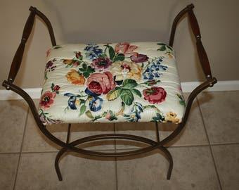 Vintage Gold Metal Vanity Bench, Upholstered Vanity Stool, Floral Print Vanity Chair, MCM  Refurbished Metal Bench/Mid Century Vanity Bench