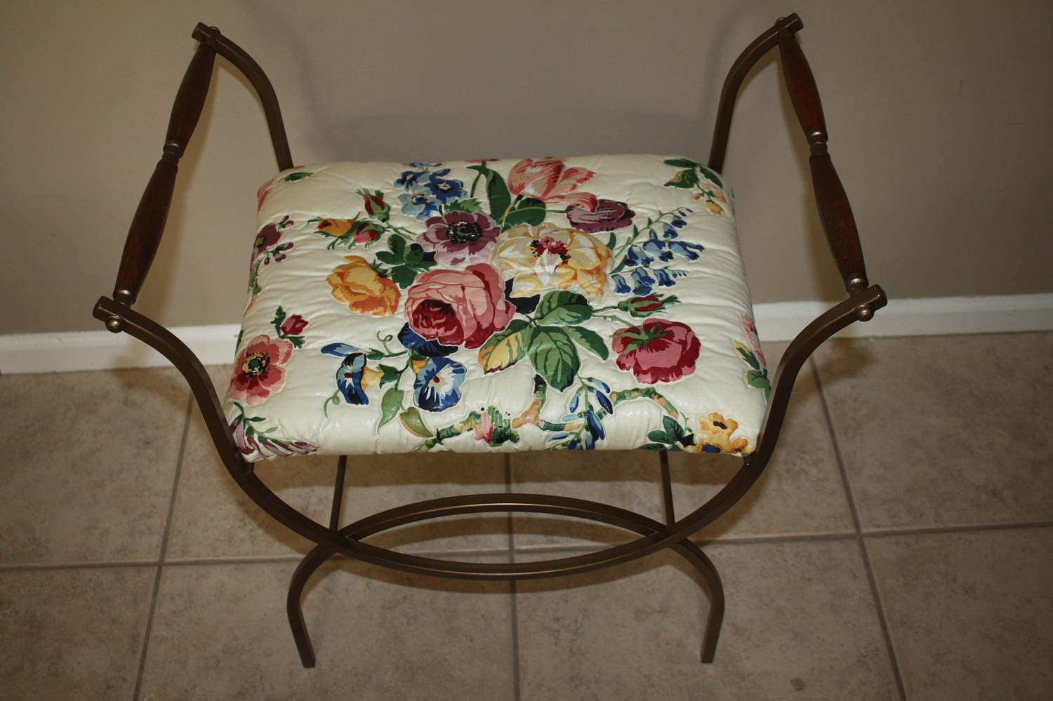 Vintage Gold Metal Vanity Bench Upholstered Vanity Stool