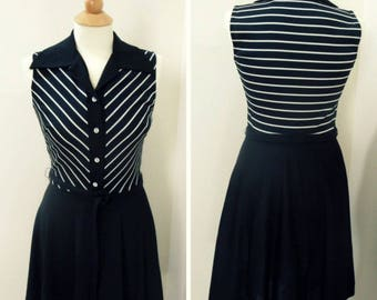 Black and White Stripe Dress, Vintage 1970s Fit and Flare Dress, Size Small