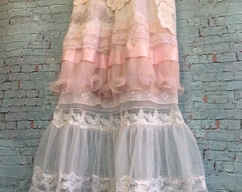 whisper pink and soft white tiered lace boho wedding dress by mermaid miss Kristin