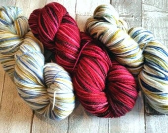 Hand dyed yarn, Double Knit yarn, 4ply yarn, sparkle sock, Winter Moor and Autumn Berry Colourway, indie dyed yarn, dyed in the UK.