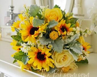Sunflower bouquet, Autumn bouquet, Fall bouquet, Traditional bouquet, Yellow bouquet, Succulent bouquet, Country wedding, Shelby bouquet