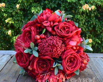 Silk wedding flowers / Red pincushion / Red bouquet / Red peony / Bridal bouquet / Silk wedding bouquet / Silk flower bouquet / Red rose