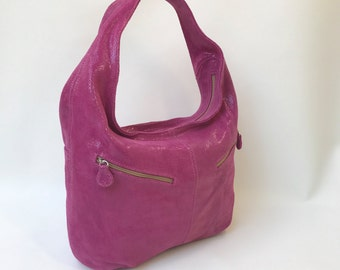 Slouchy Hobo Bag, Pink Suede Leather Purse with Pockets, Women Fashion Handbags, Everyday Stylish Bags, Aly