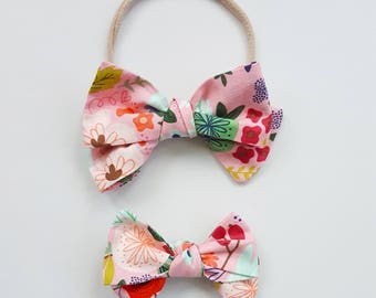 floral Emmie bow headband or clip